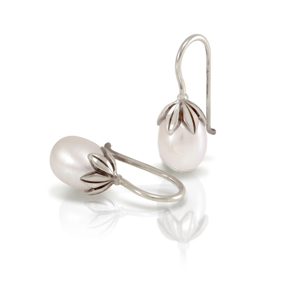 Small Chinese Teardrop Pearl Earrings With Solid Silver Leaf Design By Scarab Jewellery Studio