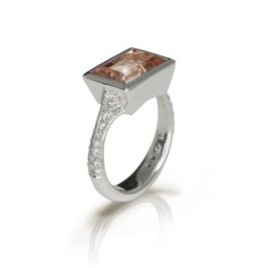 Pale Pink Tourmaline White Gold Diamond Ring by Scarab Jewellery Studio