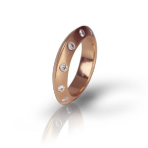 Rose Gold Knife Edge Diamond Studded Stacking Ring by Scarab Jewellery Studio