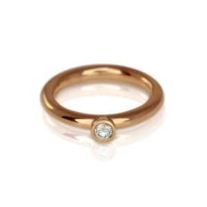 Rose Gold Diamond Flute Ring by Scarab Jewellery Studio