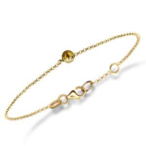Dainty Daisy Citrine Cabochon Gold Bracelet by Scarab Jewellery Studio