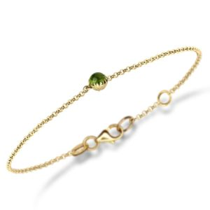 Dainty Daisy Peridot Cabochon Gold Bracelet by Scarab Jewellery Studio