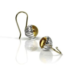Daisy Citrine Cabochon Drop Earrings by Scarab Jewellery Studio