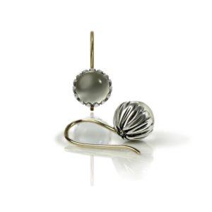 Daisy Moonstone Cabochon Drop Earrings by Scarab Jewellery Studio