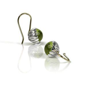 Daisy Peridot Cabochon Drop Earrings by Scarab Jewellery Studio
