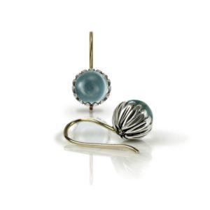 Daisy Blue Topaz Cabochon Drop Earrings by Scarab Jewellery Studio