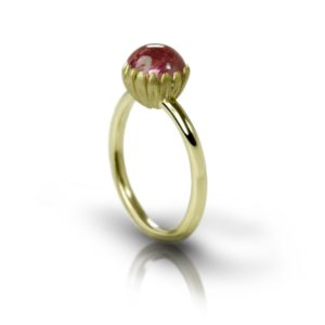 Daisy Pink Tourmaline Cabochon Gold Ring by Scarab Jewellery Studio