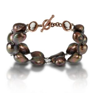 Cameo Brown Baroque Pearl Bracelet by Scarab Jewellery Studio