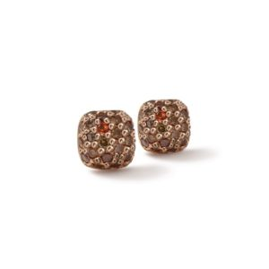Gold Cognac Diamond Pave Earrings with one cheeky sapphire by Scarab Jewellery Studio