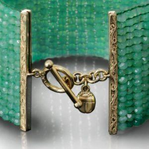 Green Chrysoprase Woven Cuff Bracelet by Scarab Jewellery Studio
