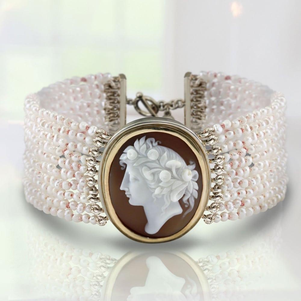 Cameo Pearl Bracelet by Scarab Jewellery Studio