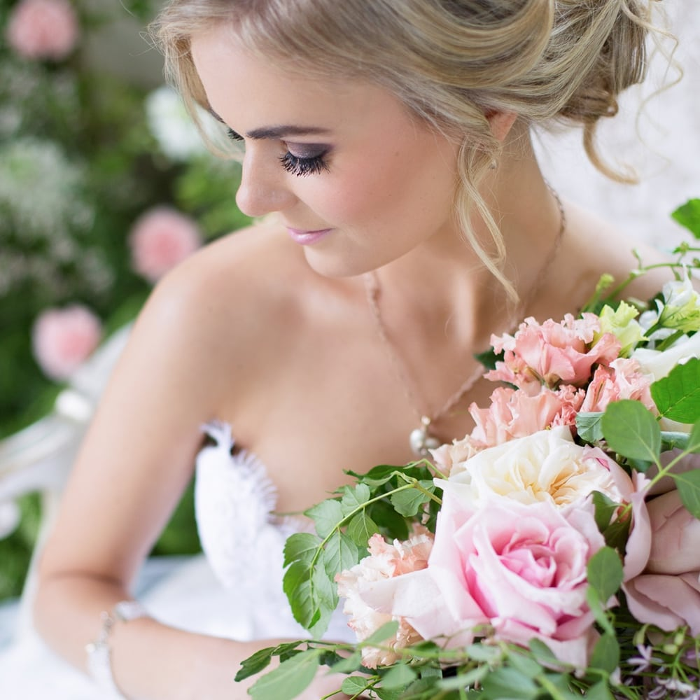 Bridal Jewellery Ideas - jewellery suitable as wedding wear - Rose Quartz Briolette Seed Pearl Necklace and spiral hoop diamond drop earrings by Scarab Jewellery Studio