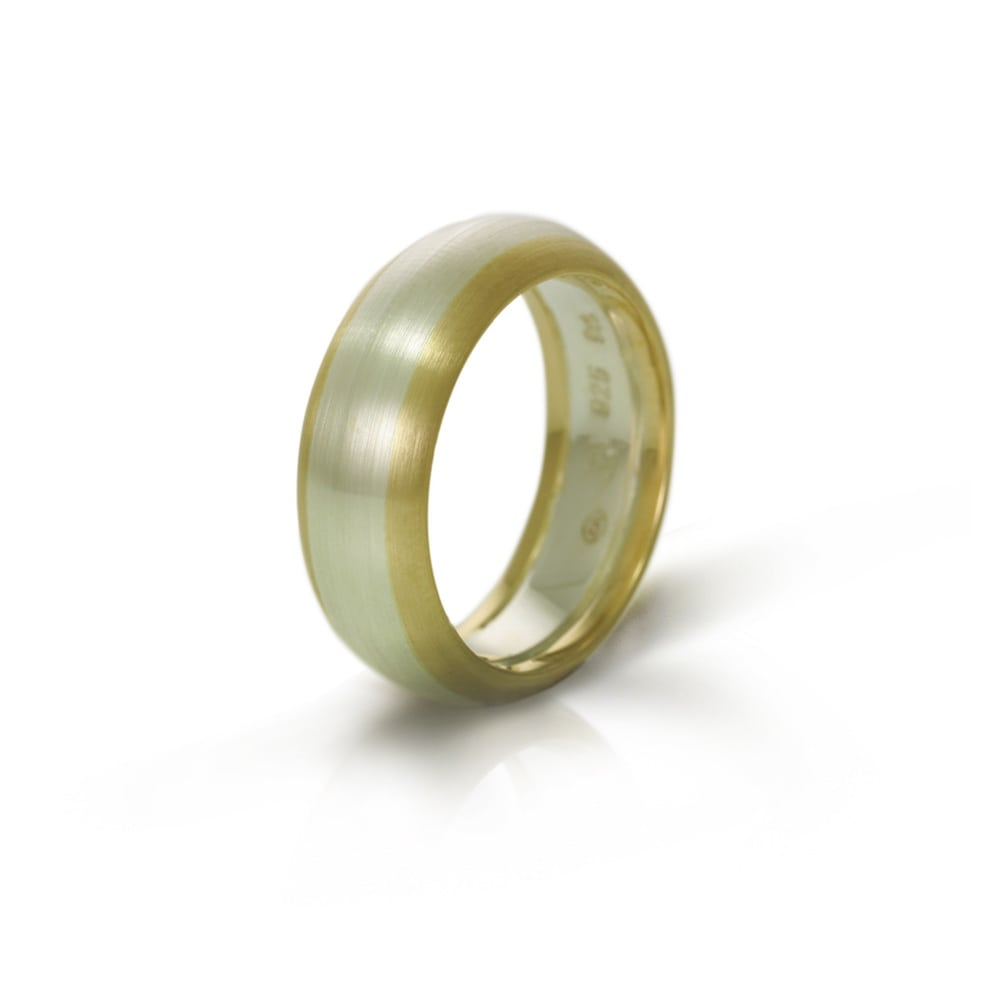 It is just an image of Silver Gold Two Tone Mens Wedding Band