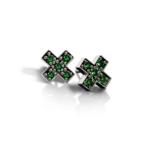 Silver Swiss Cross Green Tsavorite Earrings by Scarab Jewellery Studio