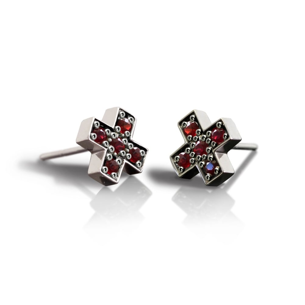 c3596eb24 Silver Swiss Cross Red Sapphire Earrings by Scarab Jewellery Studio