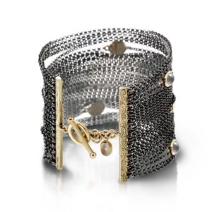 multi strand silver moonstone cuff bracelet by Scarab Jewellery Studio