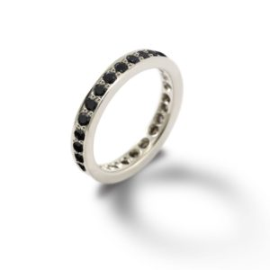 white gold eternity band black diamonds by Scarab Jewellery Studio