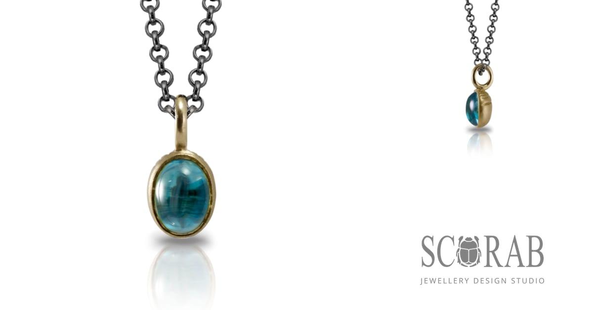 Secret Scarab Oval Blue Topaz Pendant - swiss blue topaz cabouchon gold pendant - Scarab Jewellery Studio