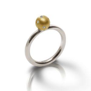 Silver Gold Gypsy Diamond Ball Ring - gypsy setting, flush setting, swiss setting - by Scarab Jewellery Studio
