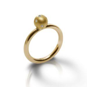 Yellow Gold Gypsy Diamond Ball Ring - gypsy setting, flush setting, swiss setting - by Scarab Jewellery Studio