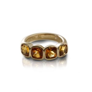 Four Stone Citrine Gold Ring by Scarab Jewellery Studio