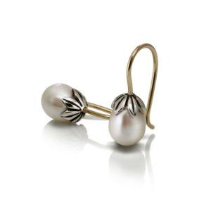 Silver Gold Teardrop Pearl Earrings by Scarab Jewellery Studio