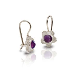 Silver Shasta Daisy Amethyst Earrings by Scarab Jewellery Studio - February Birthstone Jewelry