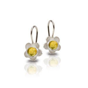 Silver Shasta Daisy Citrine Earrings by Scarab Jewellery Studio