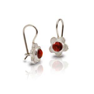 Silver Shasta Daisy Garnet Earrings by Scarab Jewellery Studio