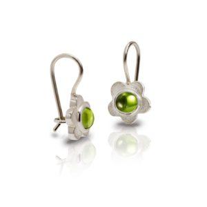 Silver Shasta Daisy Peridot Earrings by Scarab Jewellery Studio