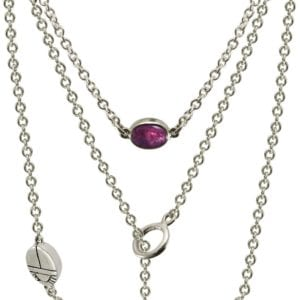 Silver Lariat Necklace MultiColored Gemstones by Scarab Jewellery Studio
