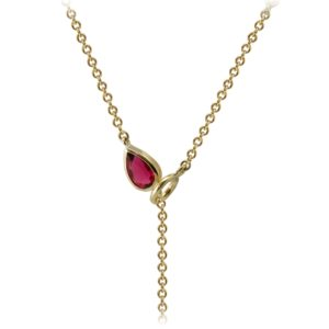 Gold Lariat Necklace MultiColored Gemstones by Scarab Jewellery Studio