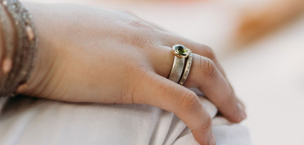 Silver Dandelion Stud Earrings and Modern Chunky Silver Peridot Ring by Scarab Jewellery Studio