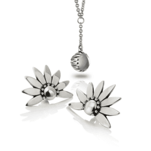 Silver Bundle- Silver Daisy Moonstone drop pendant with Silver Dandelion Earrings