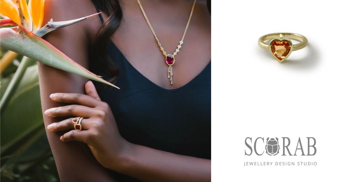 18 Carat Yellow Gold Citrine Heart Ring by Scarab Jewellery Studio International