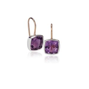 Silver Gold Amethyst Boxy Earrings by Scarab Jewellery Studio