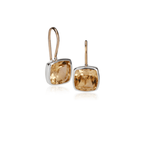 Silver Gold Citrine Boxy Earrings by Scarab Jewellery Studio