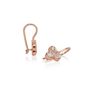 Three Stone Grape Earrings Diamond by Scarab Jewellery Studio