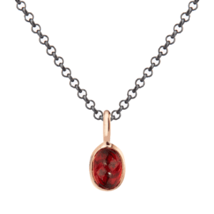 Rose Gold Scarab Garnet Pendant by Scarab Jewellery Studio