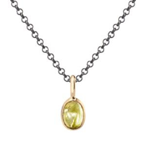 Rose Gold Scarab Peridot Pendant by Scarab Jewellery Studio
